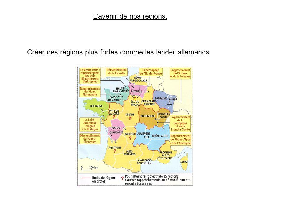 L'avenir de nos régions. Créer des régions plus fortes comme les länder allemands