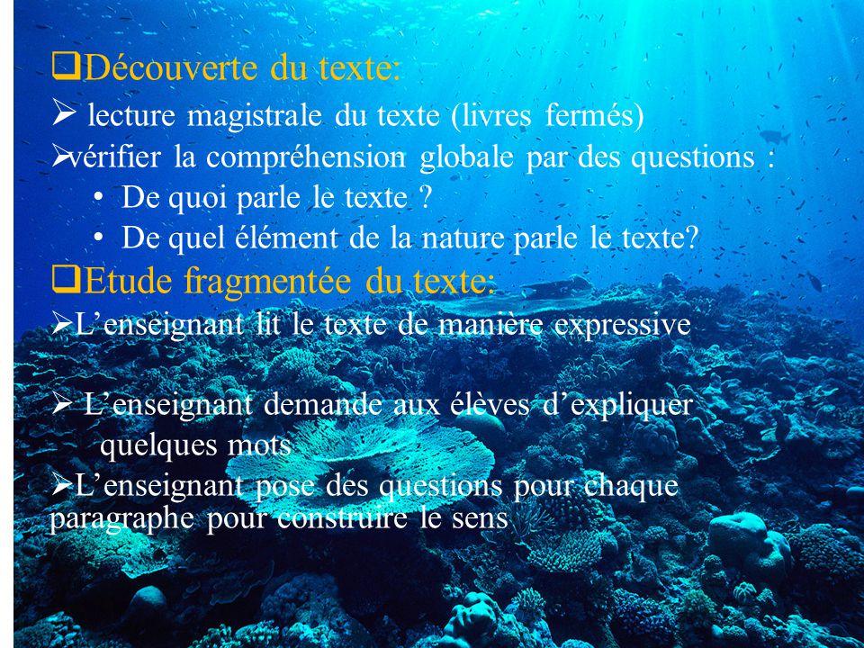  Découverte du texte:  lecture magistrale du texte (livres fermés)  vérifier la compréhension globale par des questions : De quoi parle le texte ?