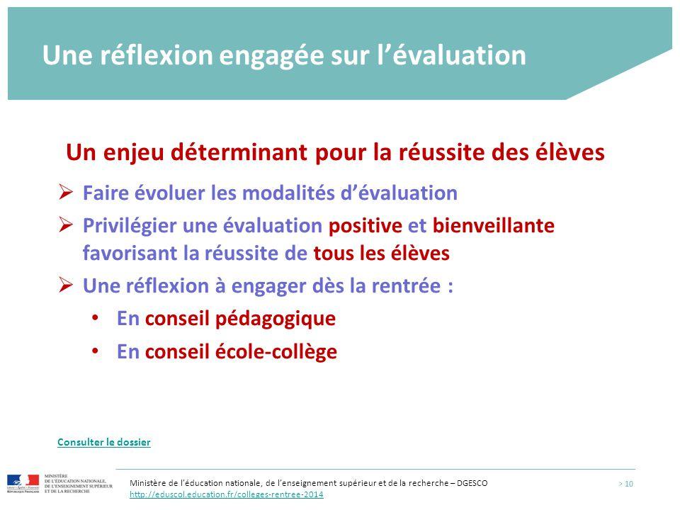 Une réflexion engagée sur l'évaluation Un enjeu déterminant pour la réussite des élèves  Faire évoluer les modalités d'évaluation  Privilégier une é