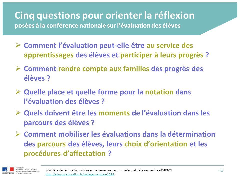Cinq questions pour orienter la réflexion posées à la conférence nationale sur l'évaluation des élèves > 11  Comment l'évaluation peut-elle être au s