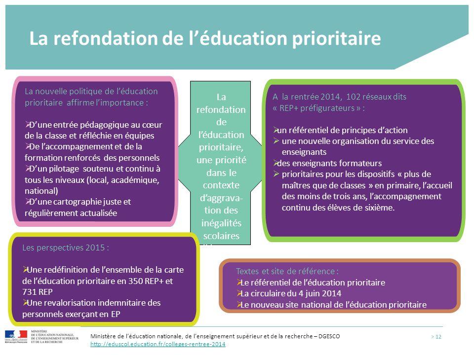 La refondation de l'éducation prioritaire La refondation de l'éducation prioritaire, une priorité dans le contexte d'aggrava- tion des inégalités scol