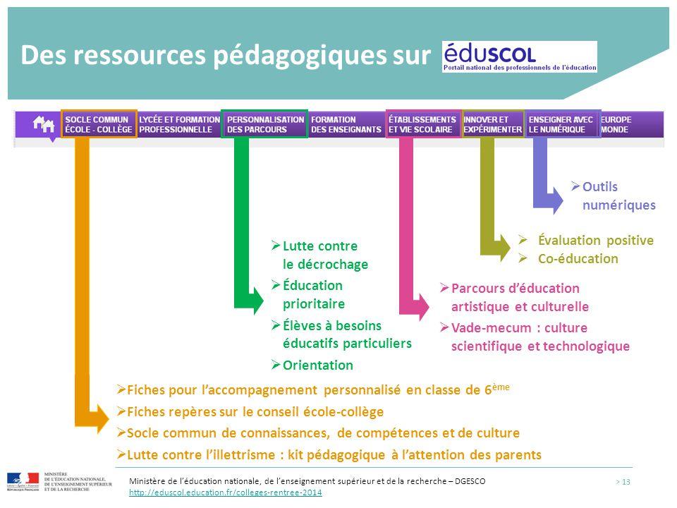 Des ressources pédagogiques sur  Fiches pour l'accompagnement personnalisé en classe de 6 ème  Fiches repères sur le conseil école-collège  Socle c