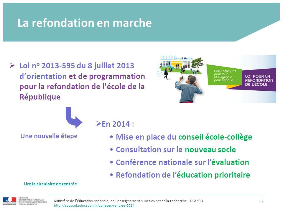La refondation en marche  Loi n o 2013-595 du 8 juillet 2013 d'orientation et de programmation pour la refondation de l'école de la République  En 2