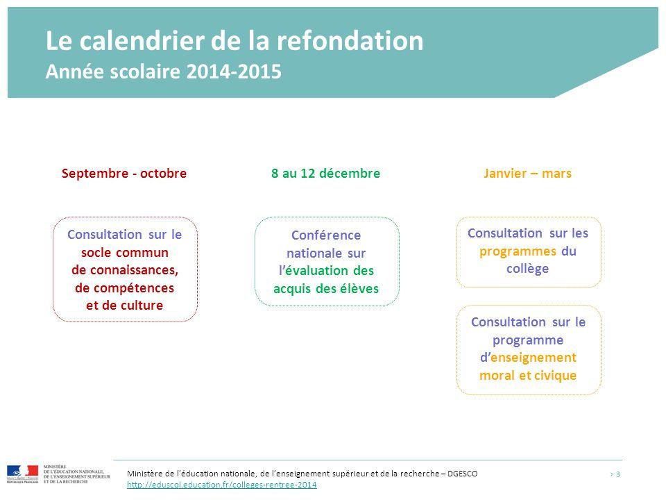 Le calendrier de la refondation Année scolaire 2014-2015 Consultation sur les programmes du collège > 3 Janvier – mars Conférence nationale sur l'éval