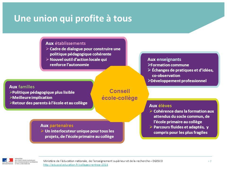 Aux enseignants  Formation commune  Échanges de pratiques et d'idées, co-observation  Développement professionnel Une union qui profite à tous Aux