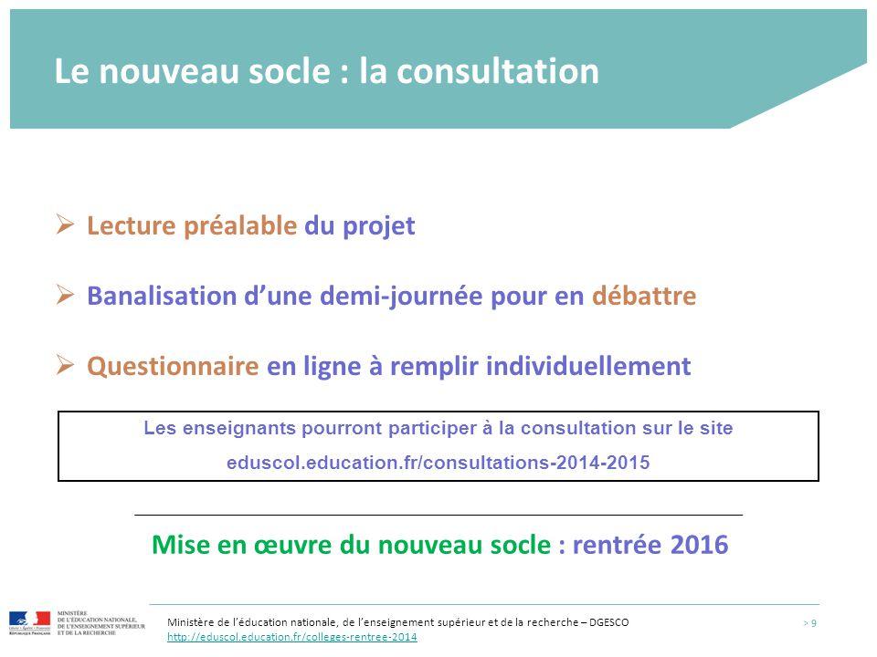 Le nouveau socle : la consultation  Lecture préalable du projet  Banalisation d'une demi-journée pour en débattre  Questionnaire en ligne à remplir