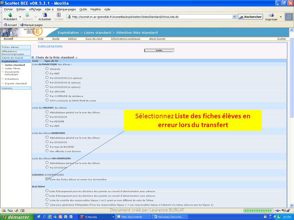 Sélectionnez Liste des fiches élèves en erreur lors du transfert