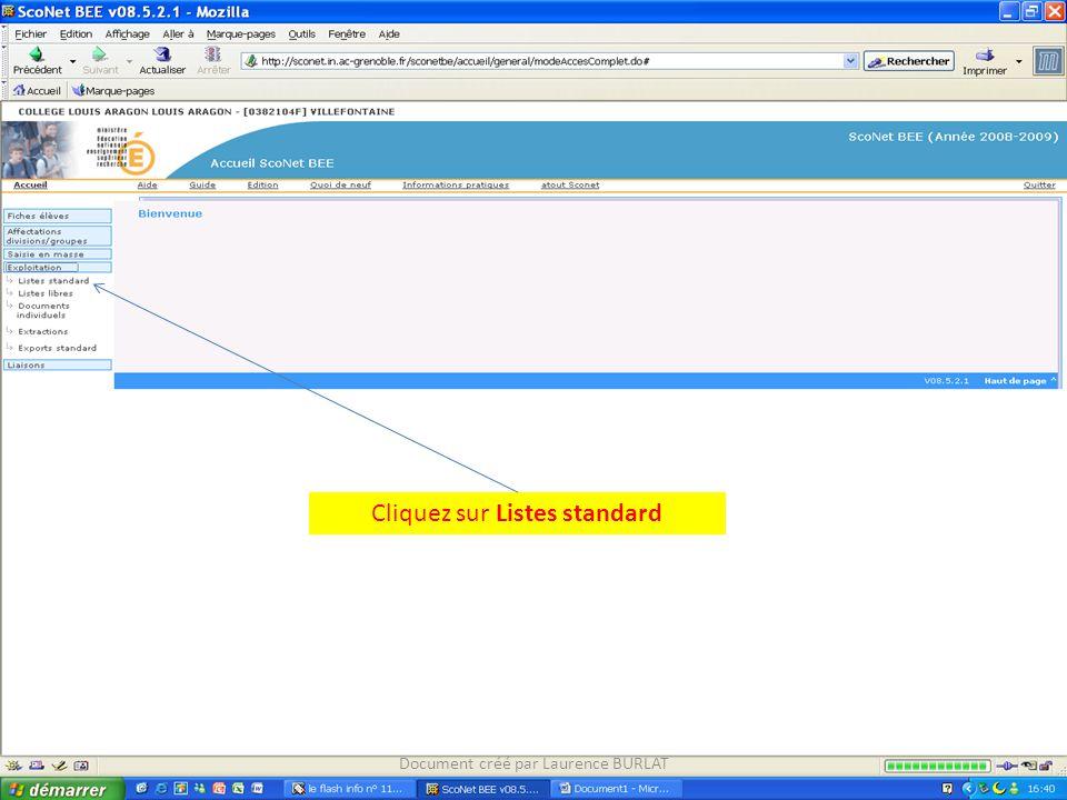 Cliquez sur Listes standard Document créé par Laurence BURLAT
