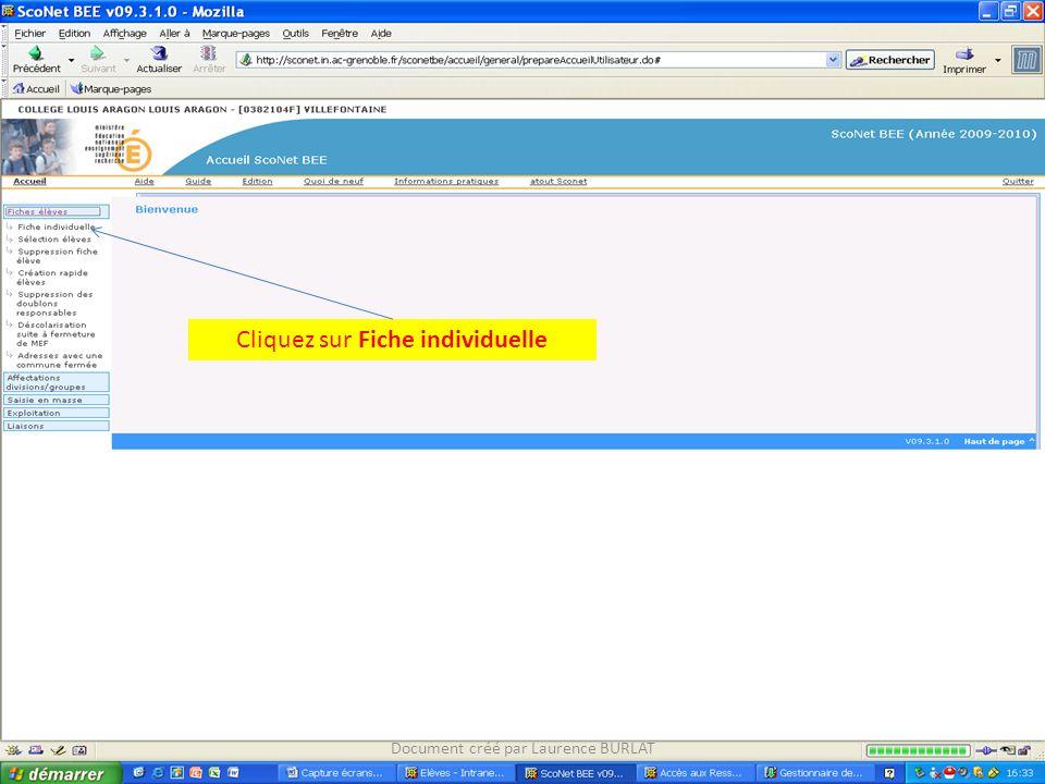 Cliquez sur Fiche individuelle Document créé par Laurence BURLAT