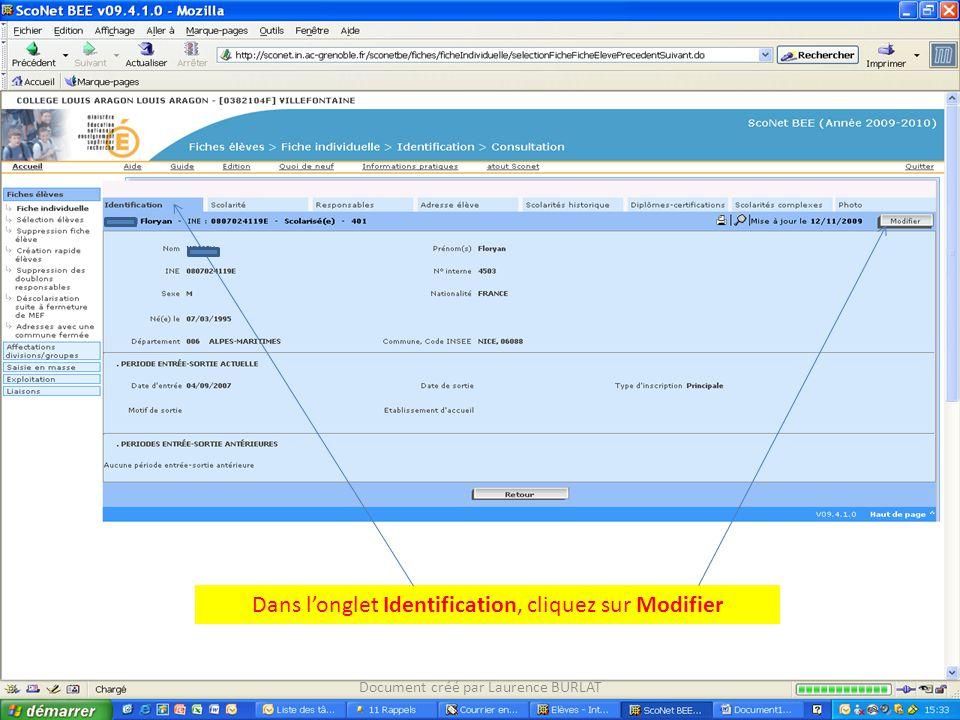 Dans l'onglet Identification, cliquez sur Modifier Document créé par Laurence BURLAT