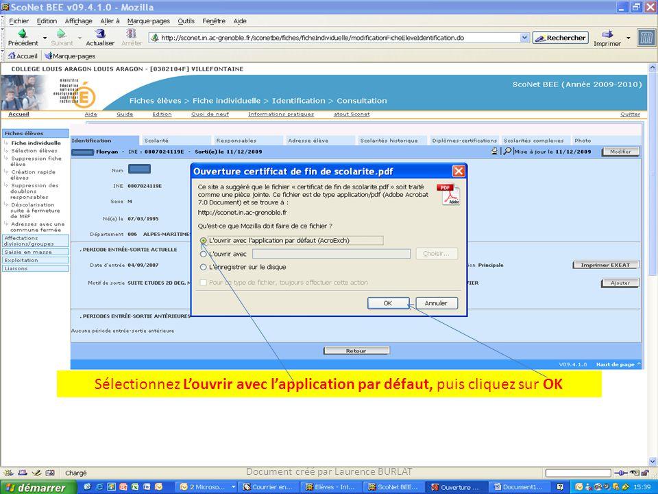 Sélectionnez L'ouvrir avec l'application par défaut, puis cliquez sur OK Document créé par Laurence BURLAT