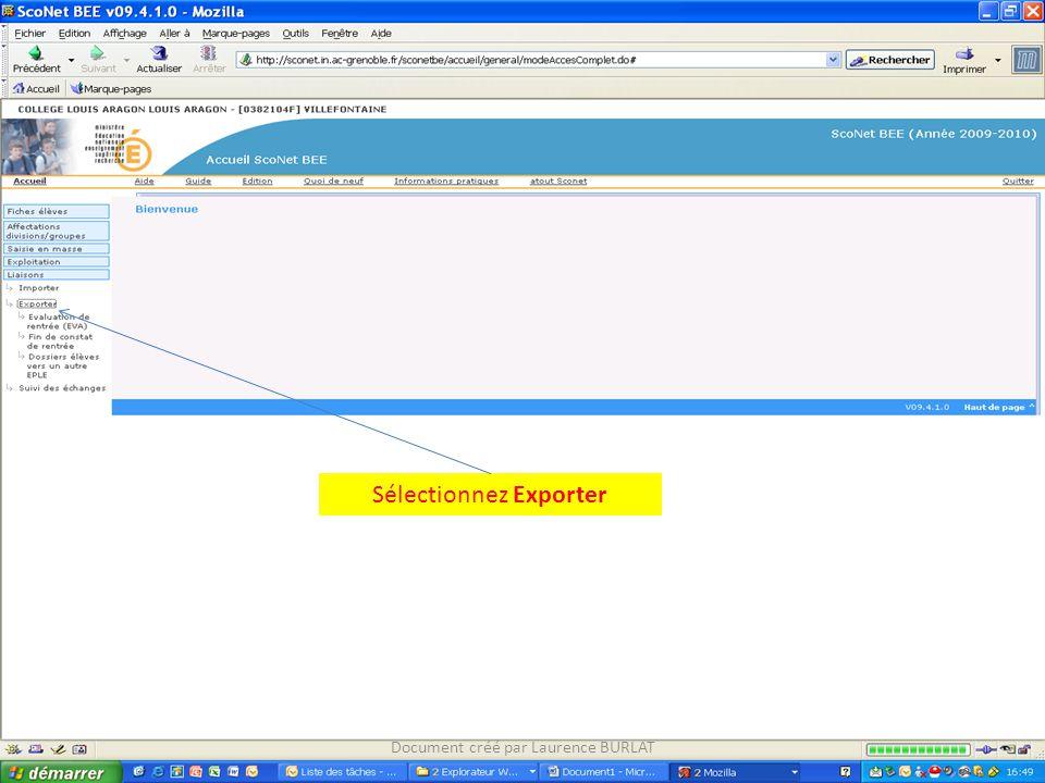 Sélectionnez Exporter Document créé par Laurence BURLAT