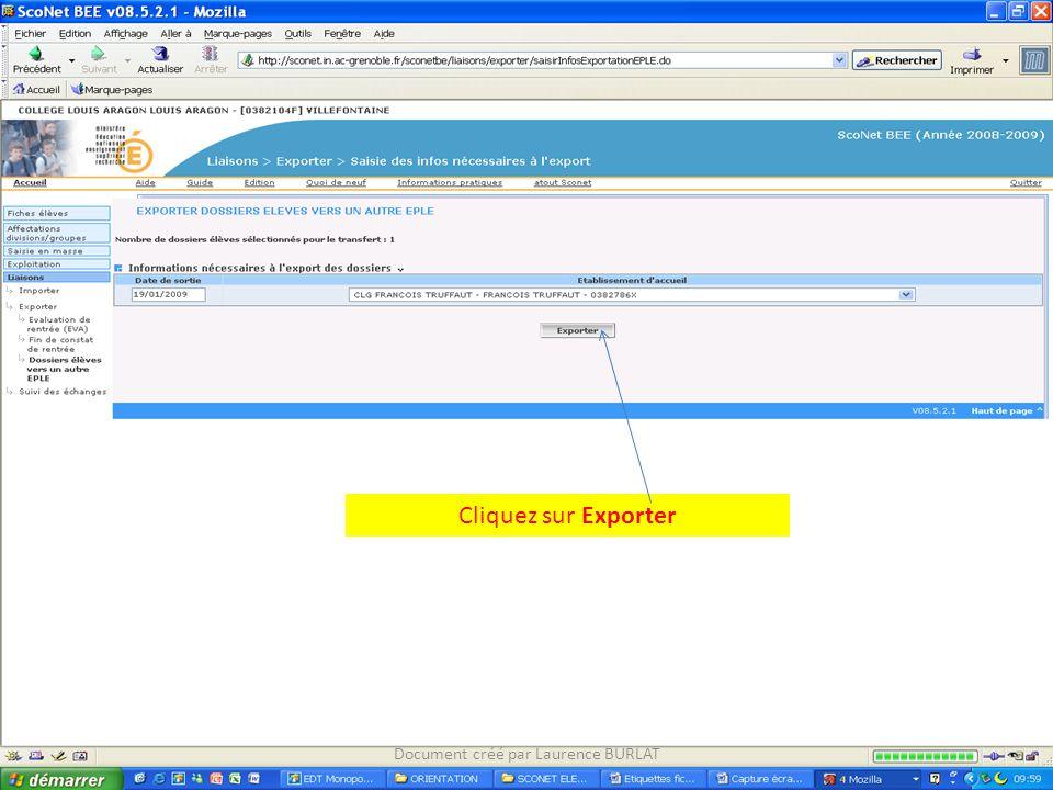 Cliquez sur Exporter Document créé par Laurence BURLAT