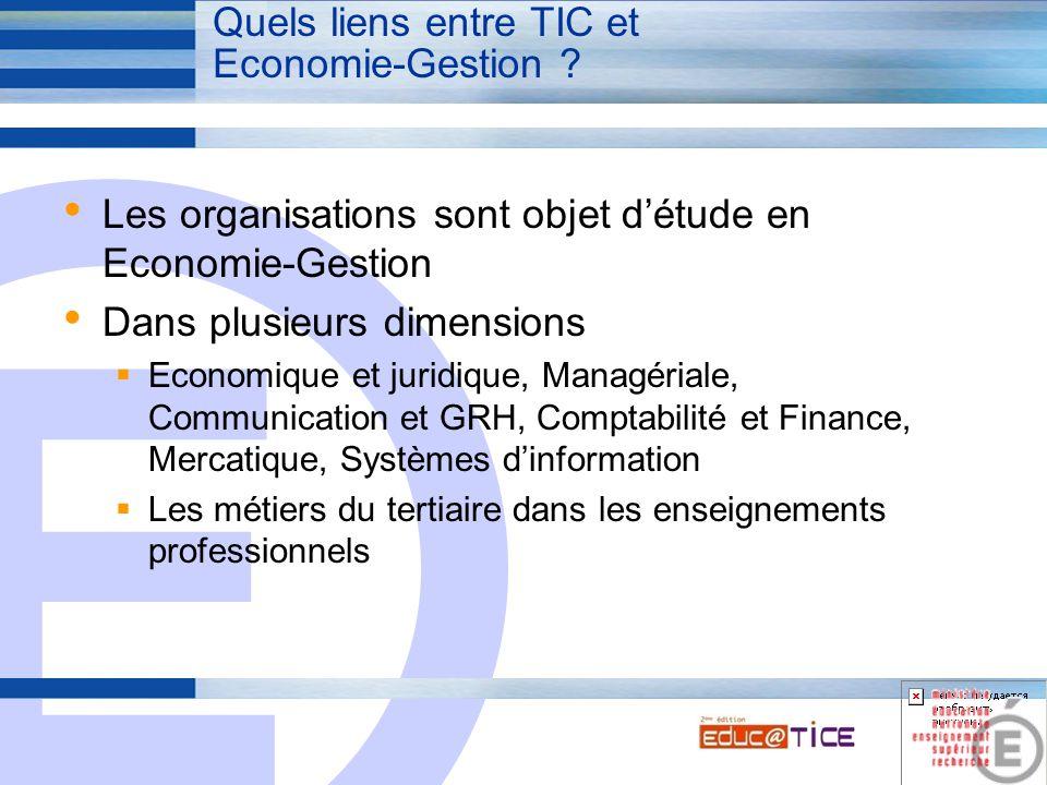 E 3 Quels liens entre TIC et Economie-Gestion ? Les organisations sont objet d'étude en Economie-Gestion Dans plusieurs dimensions  Economique et jur