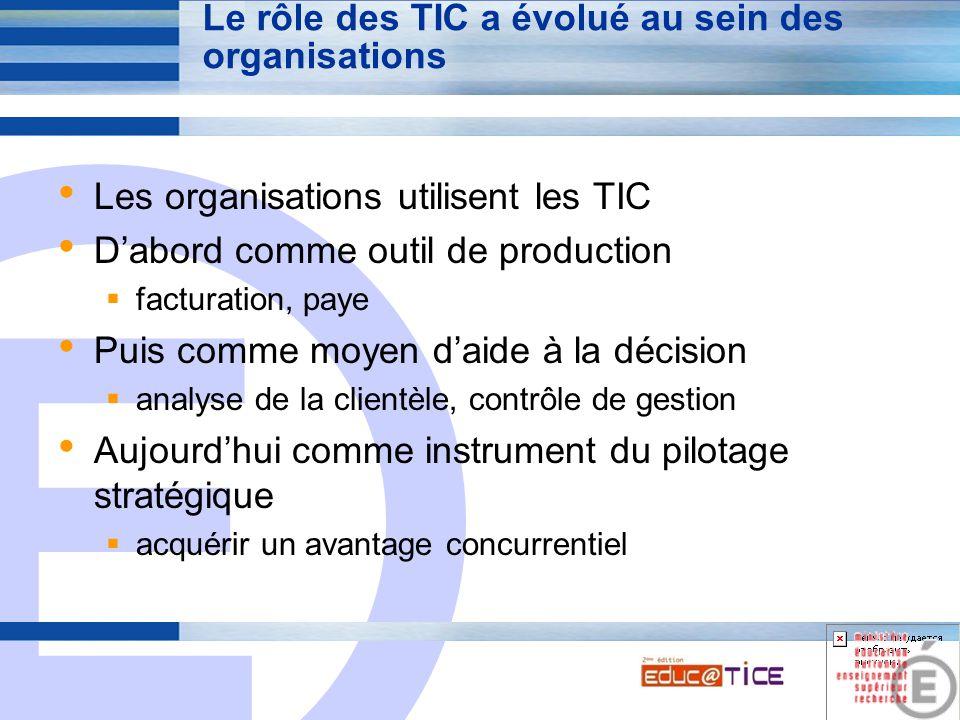 E 4 Le rôle des TIC a évolué au sein des organisations Les organisations utilisent les TIC D'abord comme outil de production  facturation, paye Puis