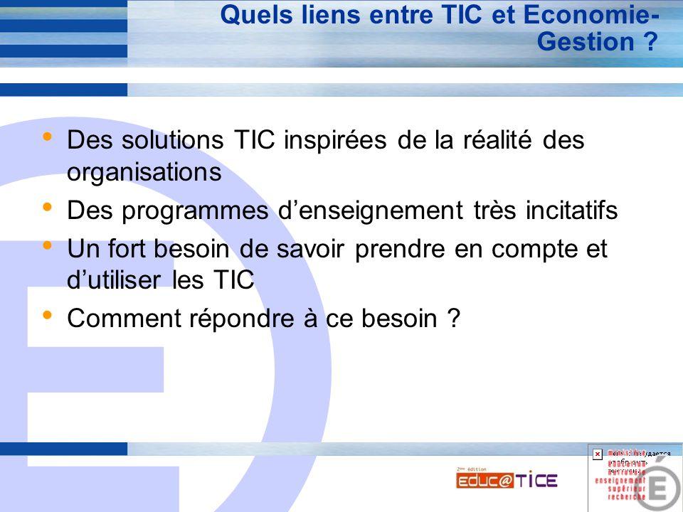 E 8 Quels liens entre TIC et Economie- Gestion ? Des solutions TIC inspirées de la réalité des organisations Des programmes d'enseignement très incita