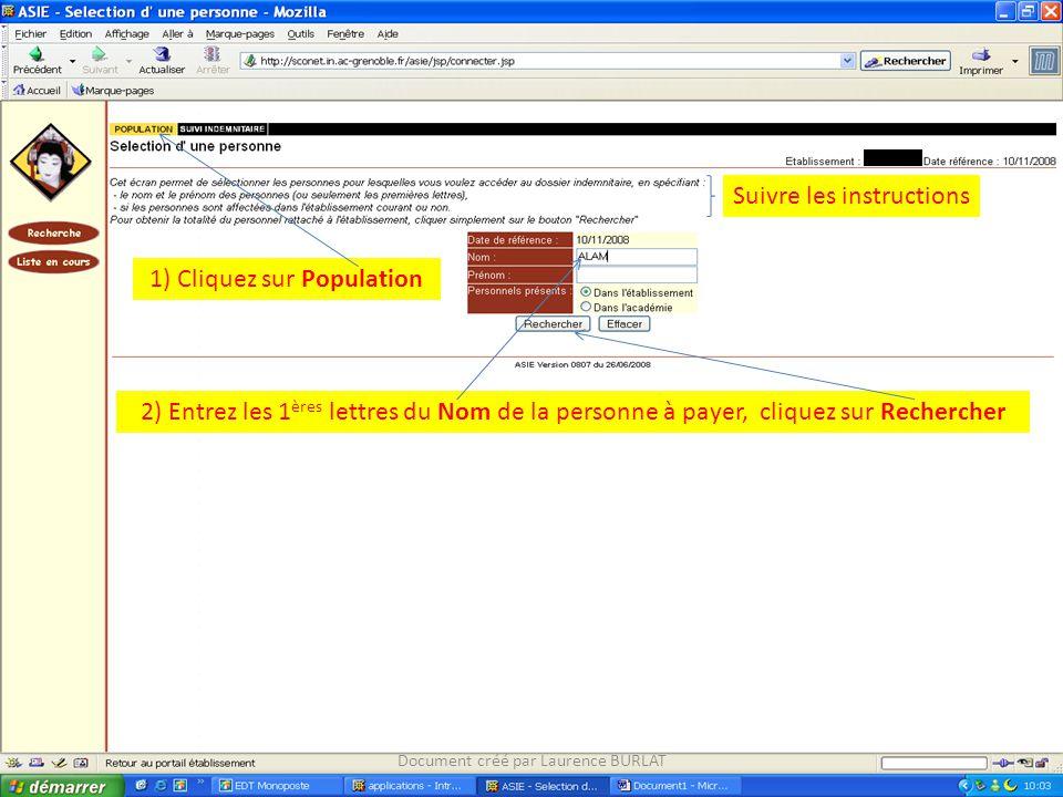 2) Entrez les 1 ères lettres du Nom de la personne à payer, cliquez sur Rechercher Suivre les instructions 1) Cliquez sur Population Document créé par