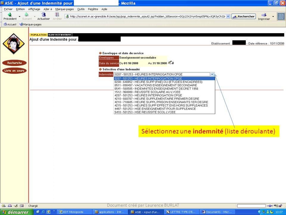 Sélectionnez une indemnité (liste déroulante) Document créé par Laurence BURLAT
