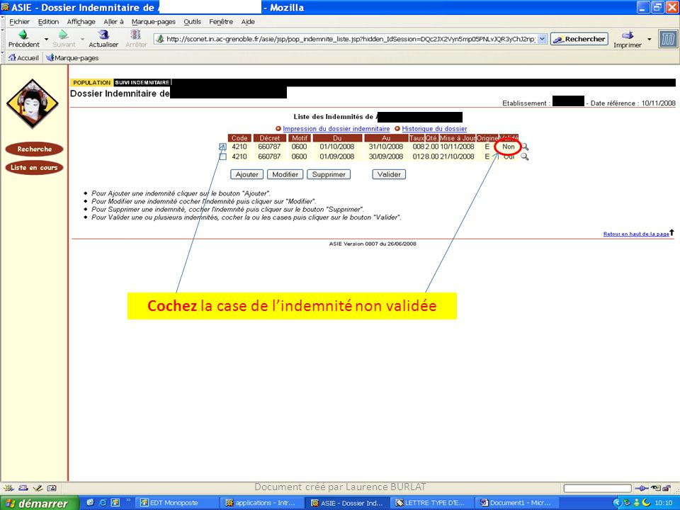 Cochez la case de l'indemnité non validée Document créé par Laurence BURLAT