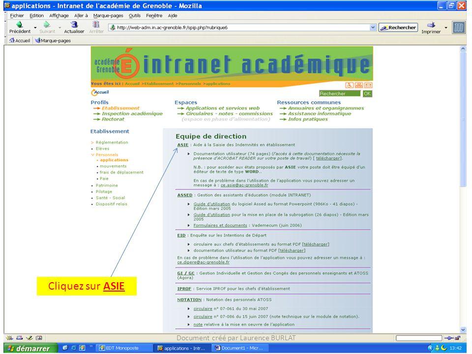 Cliquez sur ASIE Document créé par Laurence BURLAT