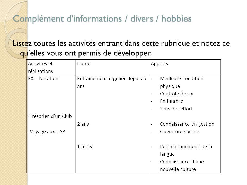 Complément d informations / divers / hobbies Complément d informations / divers / hobbies Listez toutes les activités entrant dans cette rubrique et notez ce qu'elles vous ont permis de développer.