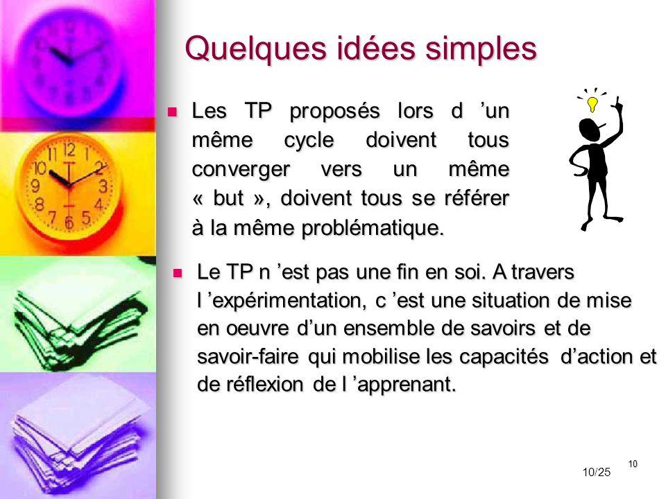 10 Les TP proposés lors d 'un même cycle doivent tous converger vers un même « but », doivent tous se référer à la même problématique. Les TP proposés
