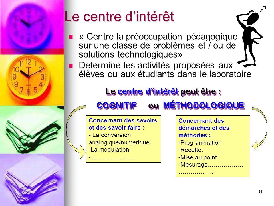 14 Le centre d'intérêt « Centre la préoccupation pédagogique sur une classe de problèmes et / ou de solutions technologiques» Détermine les activités