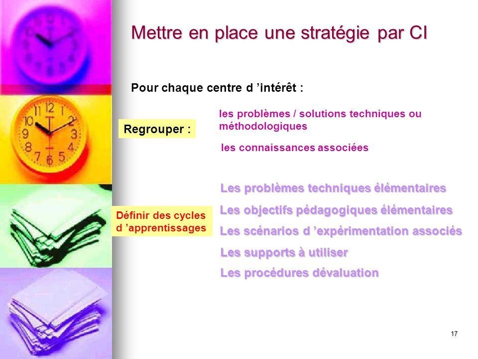 17 Pour chaque centre d 'intérêt : les connaissances associées les problèmes / solutions techniques ou méthodologiques Définir des cycles d 'apprentis