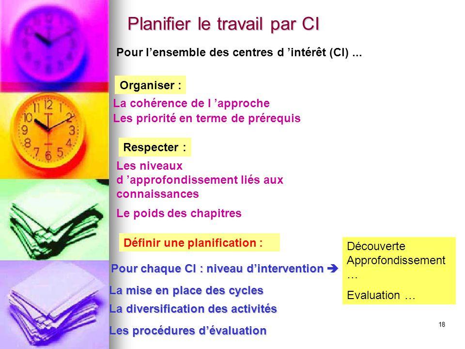 18 Les priorité en terme de prérequis La cohérence de l 'approche Définir une planification : Organiser : Pour chaque CI : niveau d'intervention  La