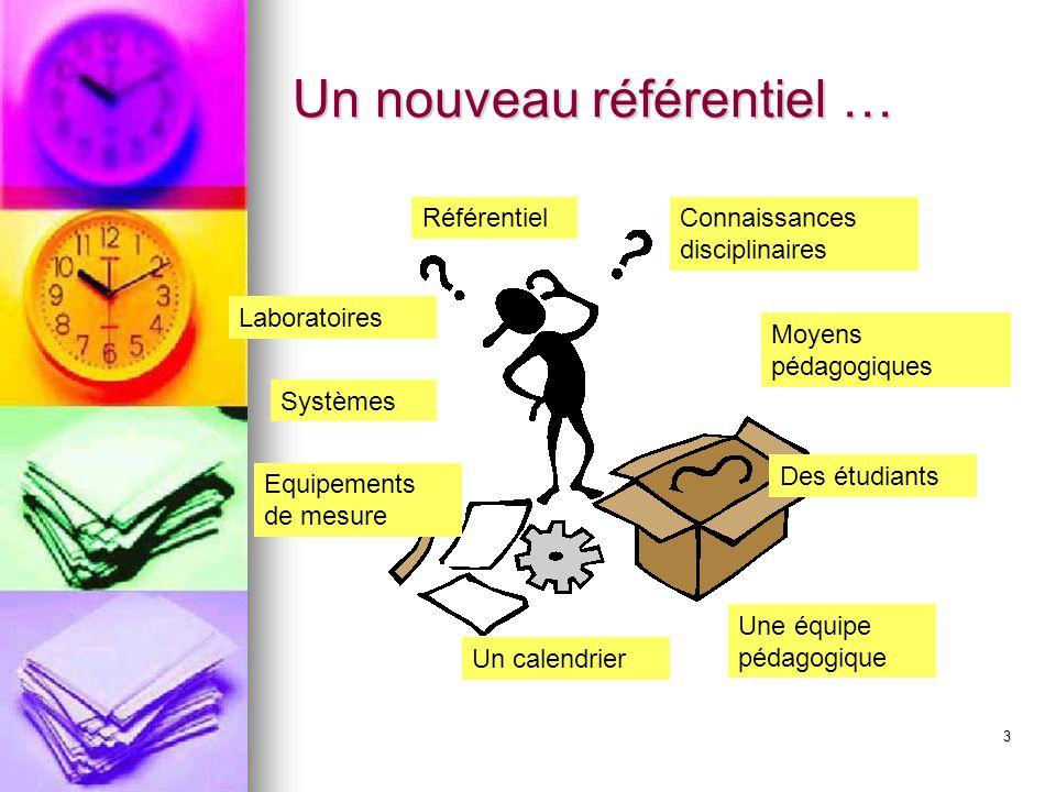 3 Un nouveau référentiel … RéférentielConnaissances disciplinaires Laboratoires Systèmes Equipements de mesure Des étudiants Une équipe pédagogique Un