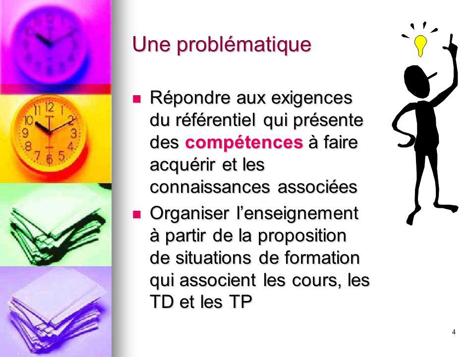 4 Une problématique Répondre aux exigences du référentiel qui présente des compétences à faire acquérir et les connaissances associées Répondre aux ex