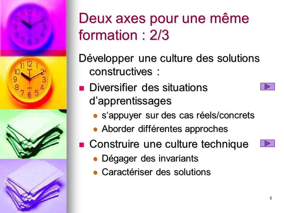 6 Deux axes pour une même formation : 2/3 Développer une culture des solutions constructives : Diversifier des situations d'apprentissages Diversifier