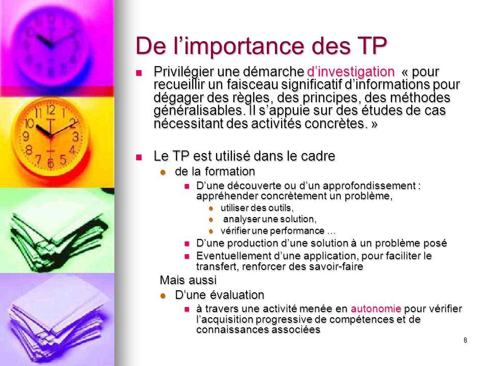 8 De l'importance des TP Privilégier une démarche d'investigation « pour recueillir un faisceau significatif d'informations pour dégager des règles, d