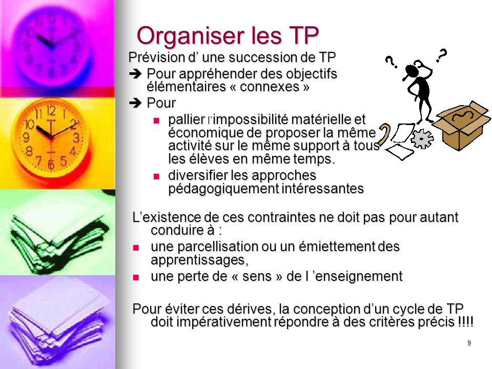 10 Les TP proposés lors d 'un même cycle doivent tous converger vers un même « but », doivent tous se référer à la même problématique.