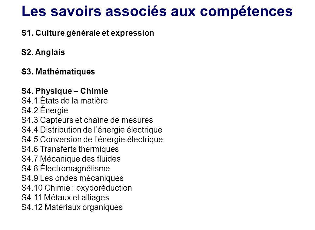 Les savoirs associés aux compétences S1. Culture générale et expression S2. Anglais S3. Mathématiques S4. Physique – Chimie S4.1 États de la matière S