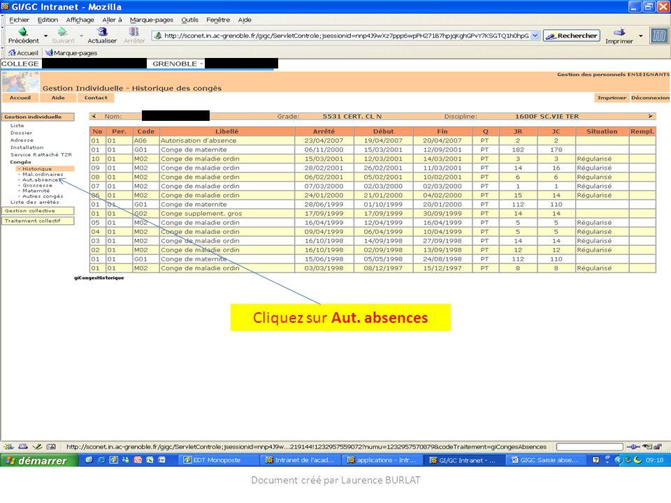 Cliquez sur Aut. absences