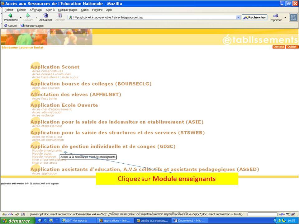 Cliquez sur Module enseignants Document créé par Laurence BURLAT