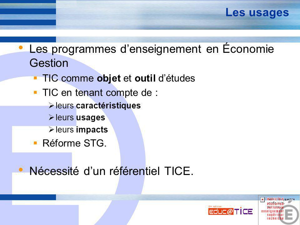 E 2 Les usages Les programmes d'enseignement en Économie Gestion  TIC comme objet et outil d'études  TIC en tenant compte de :  leurs caractéristiques  leurs usages  leurs impacts  Réforme STG.