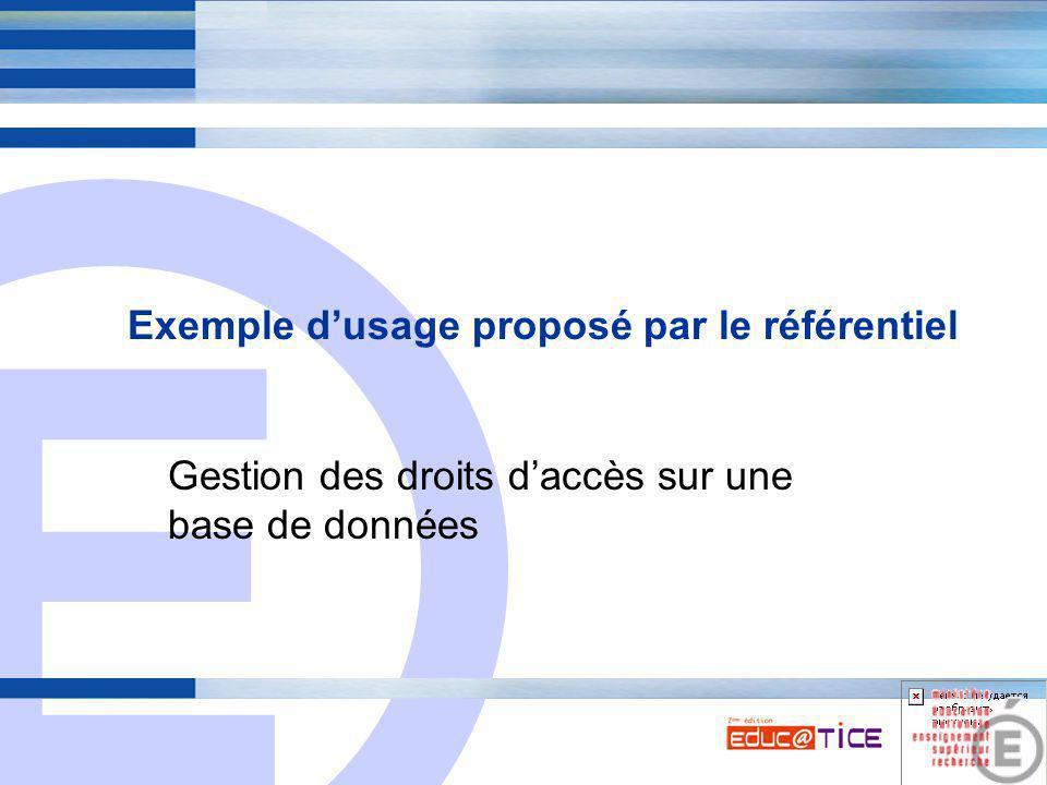 E 6 Exemple d'usage proposé par le référentiel Gestion des droits d'accès sur une base de données