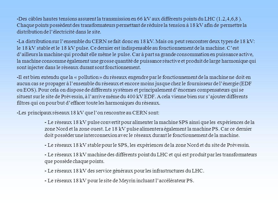 -Des câbles hautes tensions assurent la transmission en 66 kV aux différents points du LHC (1.2,4,6,8 ). Chaque points possèdent des transformateurs p