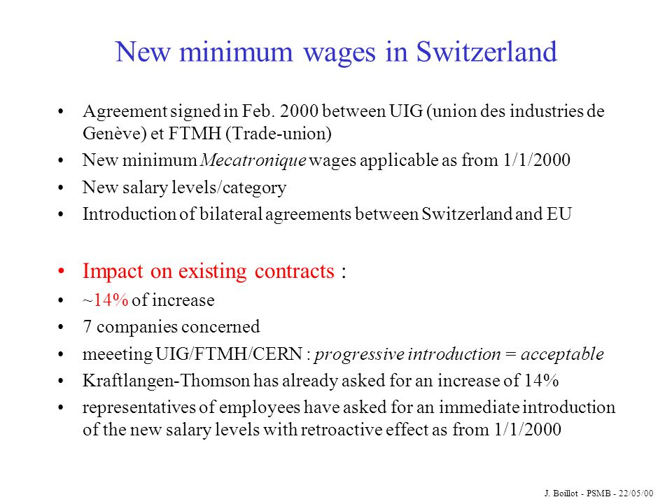 New minimum wages in Switzerland Agreement signed in Feb.