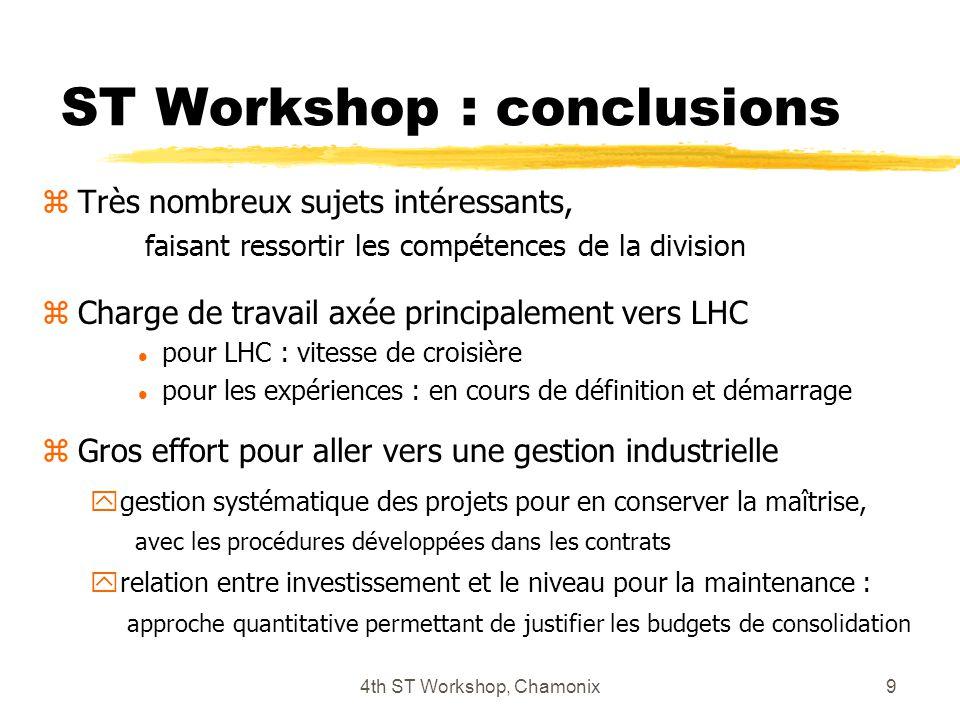 4th ST Workshop, Chamonix9 ST Workshop : conclusions zTrès nombreux sujets intéressants, faisant ressortir les compétences de la division zCharge de t