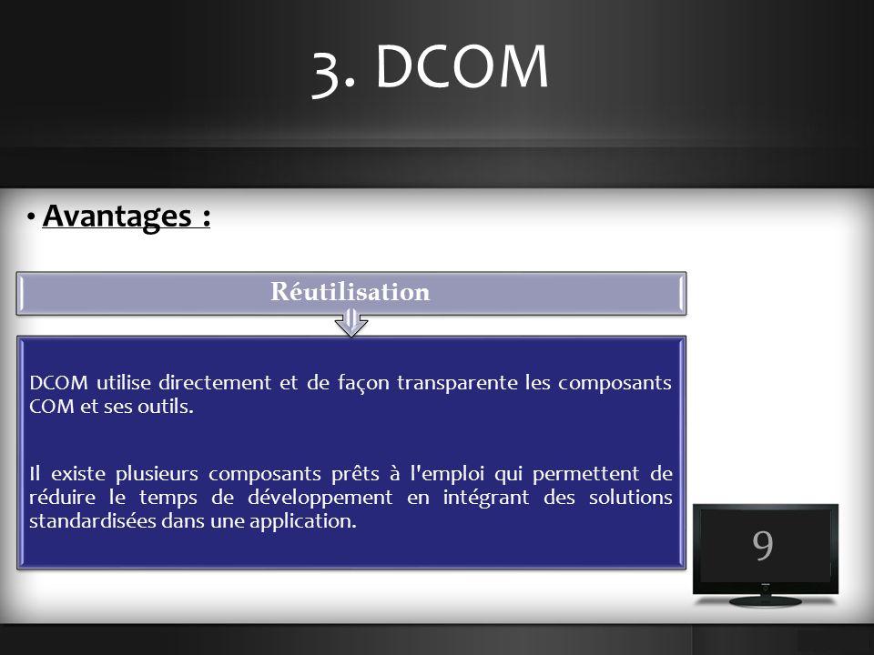 3. DCOM 9 Avantages : DCOM utilise directement et de façon transparente les composants COM et ses outils. Il existe plusieurs composants prêts à l'emp