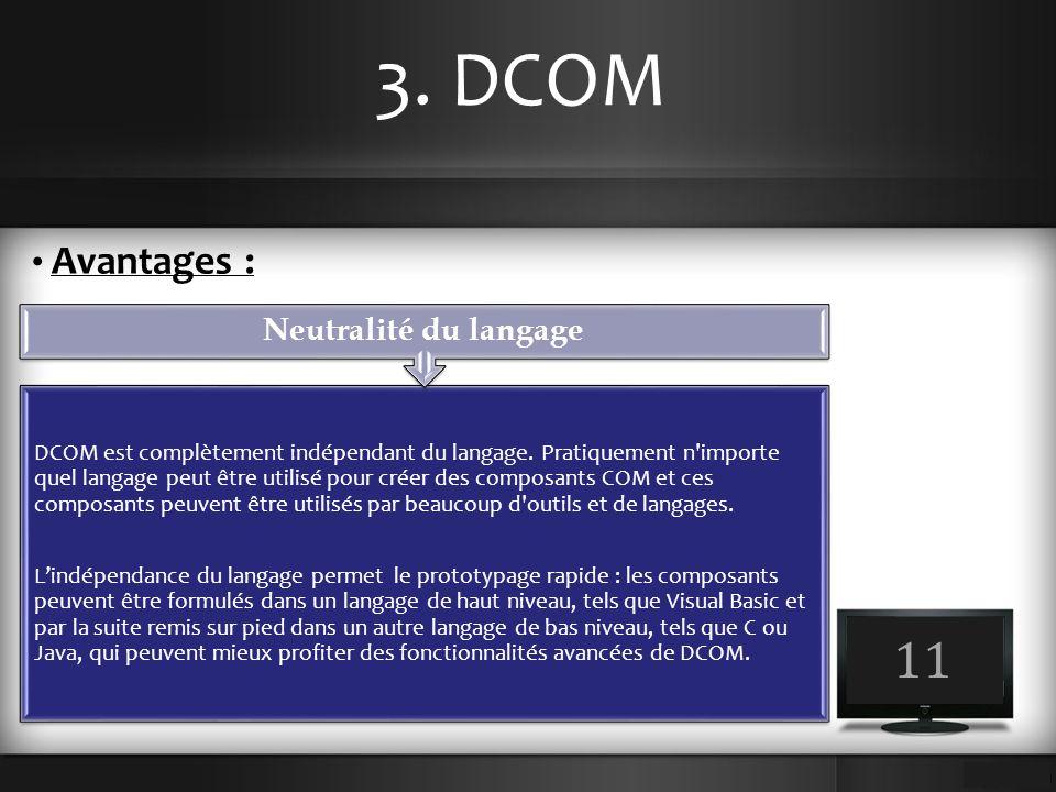 3. DCOM 11 Avantages : DCOM est complètement indépendant du langage. Pratiquement n'importe quel langage peut être utilisé pour créer des composants C