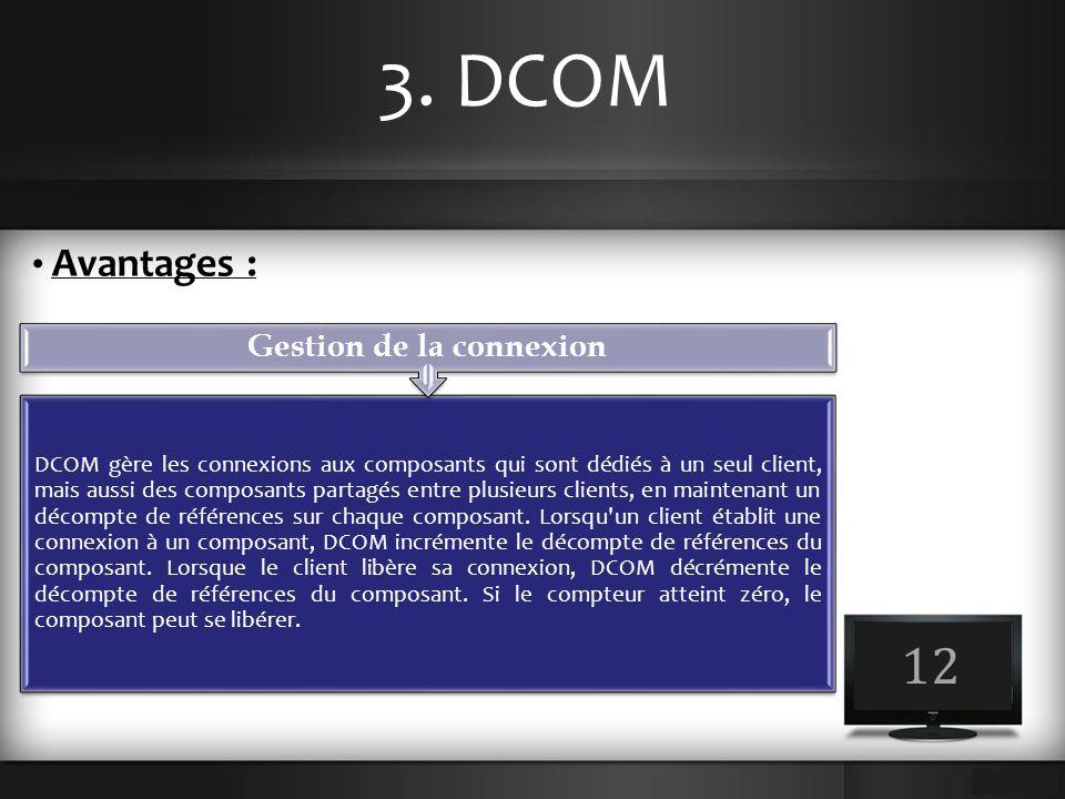 3. DCOM 12 Avantages : DCOM gère les connexions aux composants qui sont dédiés à un seul client, mais aussi des composants partagés entre plusieurs cl