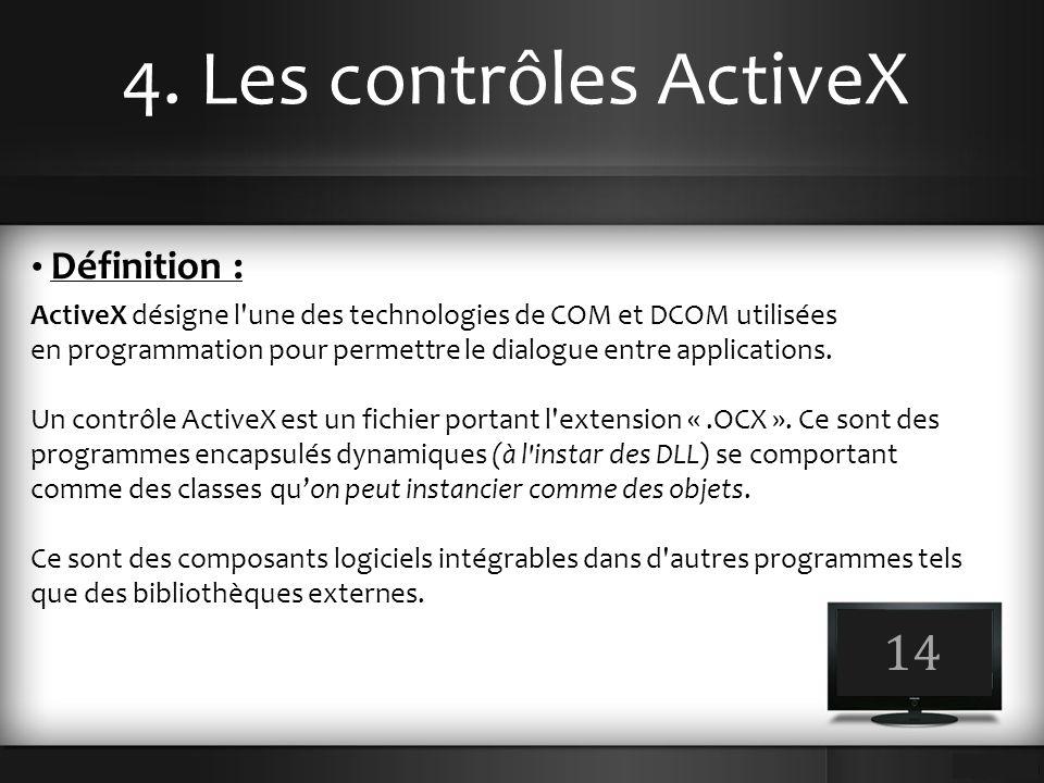4. Les contrôles ActiveX 14 Définition : ActiveX désigne l'une des technologies de COM et DCOM utilisées en programmation pour permettre le dialogue e