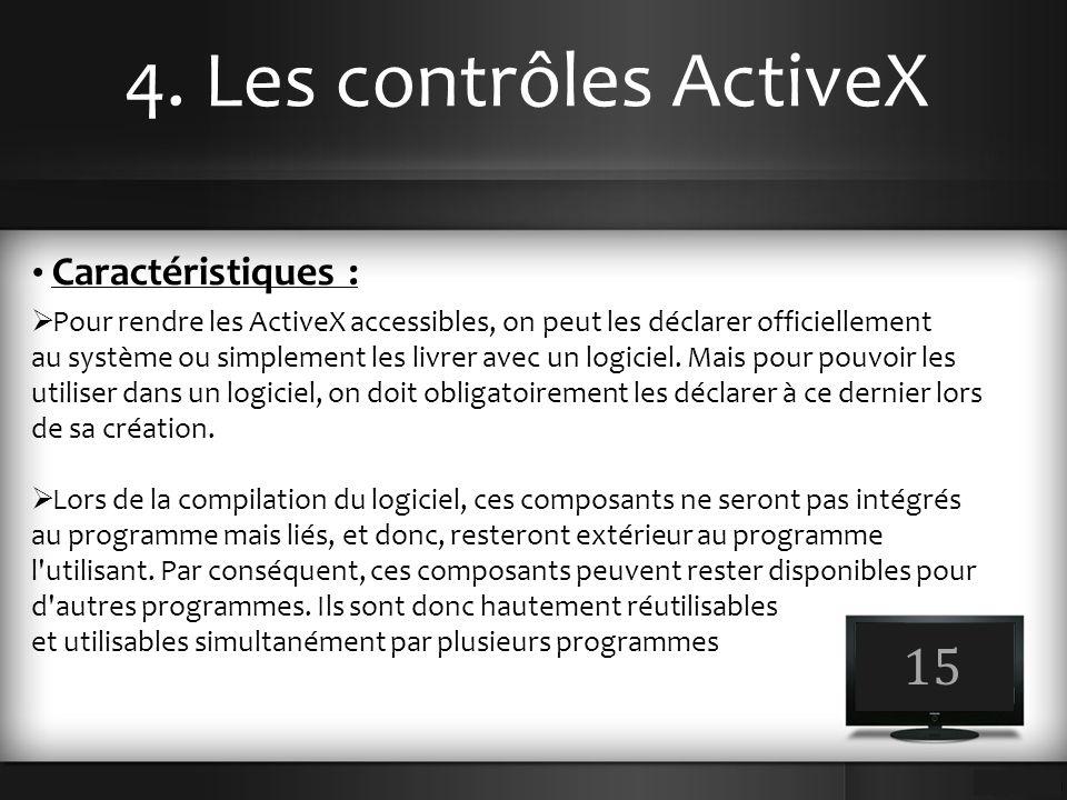 4. Les contrôles ActiveX 15 Caractéristiques :  Pour rendre les ActiveX accessibles, on peut les déclarer officiellement au système ou simplement les