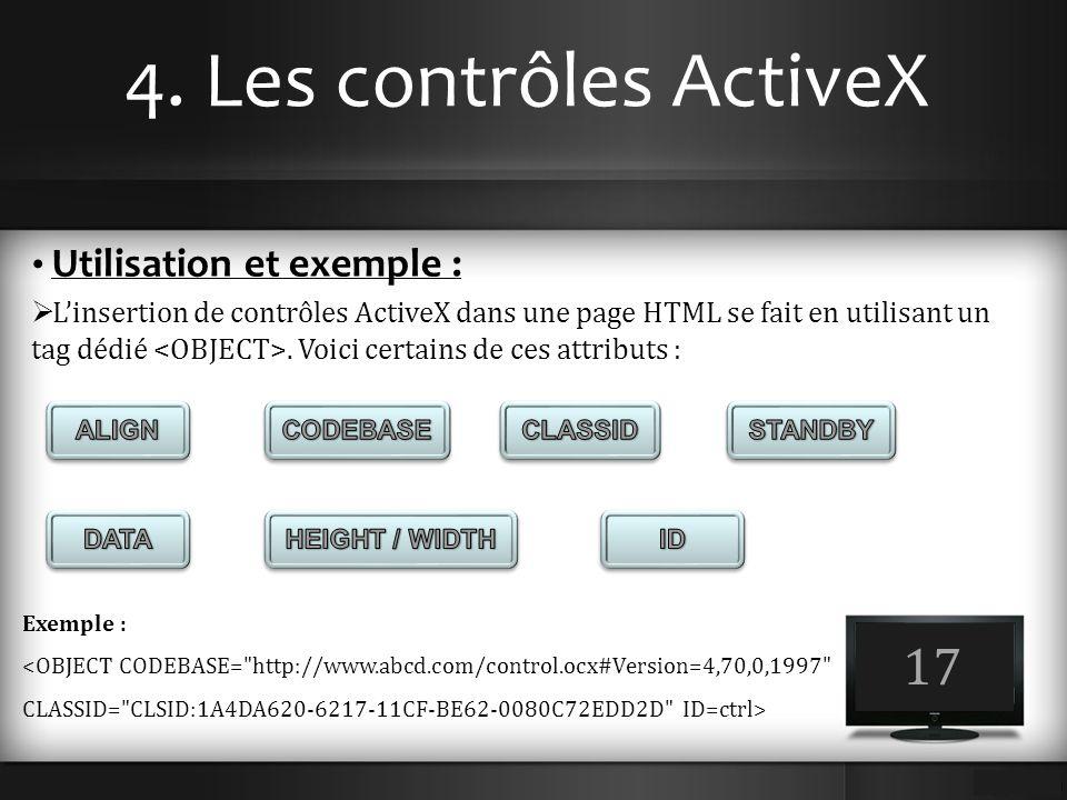 4. Les contrôles ActiveX 17 Utilisation et exemple :  L'insertion de contrôles ActiveX dans une page HTML se fait en utilisant un tag dédié. Voici ce