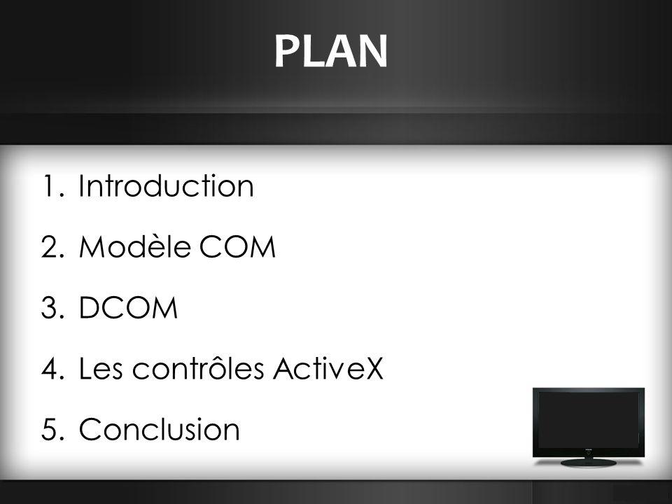 PLAN 1.Introduction 2.Modèle COM 3.DCOM 4.Les contrôles ActiveX 5.Conclusion