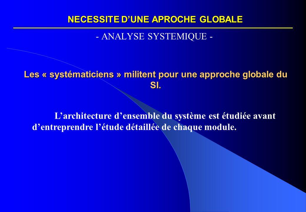 NECESSITE D'UNE APROCHE GLOBALE - ANALYSE SYSTEMIQUE - Les « systématiciens » militent pour une approche globale du SI.